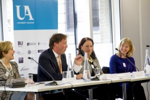 Julie Mercer (far-right) speaking at the launch of the Closing the gap report