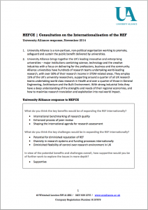 Consultation on the Internationalisation of the REF