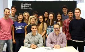 The thirteen Chartered Manager Degree Apprentices and Tim Davidson-Hague, Head of Executive Education and Corporate Programmes at Sheffield Hallam, and Tom Banham, Head of Academy Talent Acquisition at Nestlé.