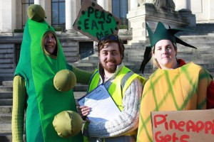 Second-year geology student Daniel Morris volunteered, along with many other UoP students, at a Feeding the 5,000 event organised by Portsmouth Food Partnership, for which volunteers prepared and served 5,000 meals using leftover supermarket produce in a bid to highlight global food waste.