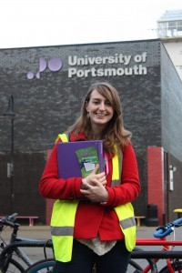 Student Alex Bracey volunteers on campus as part of 'Student Watch', a bike crime prevention initiative.