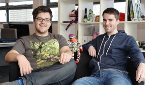 SockMonkey Studios are a DigitalCity company which design apps. They have recently celebrated their second year in business and moved into new offices on the top floor of Phoenix Building at Teesside University. Pictured (left) Bob Makin and Darren Cuthbert are the two founders of the company. 30/3/15