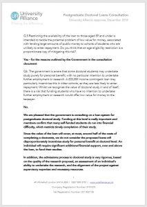 Postgraduate doctoral loans consultation response